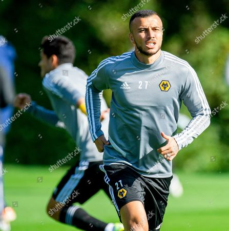 Wolverhampton Wanderers Romain Saiss in action during a training at the Sir Jack Haywood training ground in Wolverhampton, Britain, 18 September 2019.  