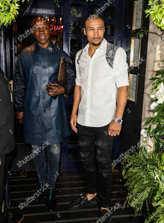 Chris Eubank and Chris Eubank Jr arrive at Tramp in London for Chris Eubank Jr's Birthday Party.