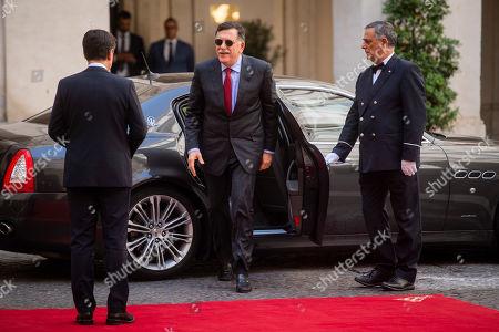 Italian Prime Minister Giuseppe Conte with Libya's UN-recognised Prime Minister Fayez al-Sarraj