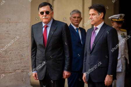 Stock Image of Libya's UN-recognised Prime Minister Fayez al-Sarraj with Italian Prime Minister Giuseppe Conte