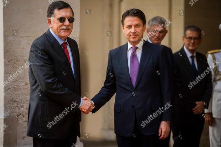 Libya's UN-recognised Prime Minister Fayez al-Sarraj with Italian Prime Minister Giuseppe Conte