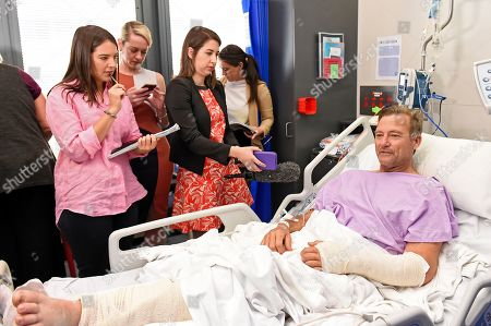 Bushwalker Neil Parker speaks to the media at Princess Alexandra Hospital in Brisbane, Australia, 18 September 2019. Neil Parker, 54, fractured his leg and wrist in the six-metre fall on Sunday while walking by himself in Cabbage Tree Creek on Mt Nebo, northwest of Brisbane.