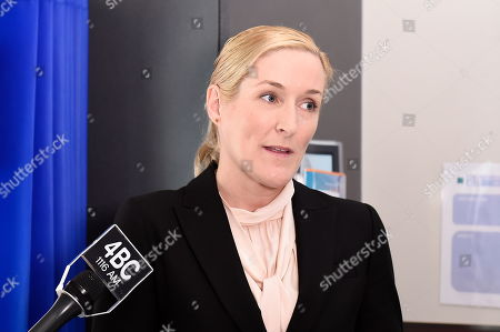 Surgeon Nicola Ward speaks to the media at Princess Alexandra Hospital in Brisbane, 18 September 2019. Neil Parker, 54, fractured his leg and wrist in the six-metre fall on Sunday while walking by himself in Cabbage Tree Creek on Mt Nebo, northwest of Brisbane.