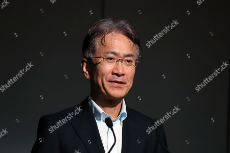 Japanese electronics giant Sony president Kenichiro Yoshida delivers a speech for the opening of 'Technology Day' event