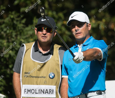Francesco Molinari and his caddy on Day Two at the BMW PGA Golf Championships at Wentworth