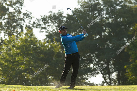 Stock Picture of VIRGINIA WATER, ENGLAND. 19 SEPTEMBER 2019: Stephen Gallacher competing in round one of the BMW PGA Championship, European Tour Golf Tournament at Wentworth Golf Club, Virginia Water, Surrey, England.