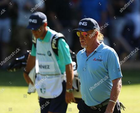 VIRGINIA WATER, ENGLAND. 21 SEPTEMBER 2019: Miguel Angel Jimenez during round three of the BMW PGA Championship, European Tour Golf Tournament at Wentworth Golf Club, Virginia Water, Surrey, England.