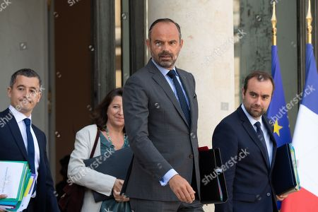 Gerald Darmanin, French Minister of Public Action and Accounts, Edouard Philippe, French Prime Minister and Sebastien Lecornu, French Junior Minister for territorial communities