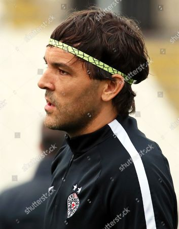 Partizan Belgrade's goalkeeper Vladimir Stojkovic attends his team's training session in Belgrade, Serbia, 18 September 2019. Partizan Belgrade will face AZ Alkmaar in their UEFA Europa League soccer match on 19 September 2019.