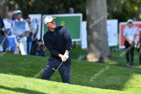 Stock Photo of Australian cricket legend Shane Warne during the BMW PGA Championship at Wentworth Club, Virginia Water