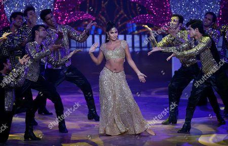 Bollywood actress Katrina Kaif, center, performs during the 20th International Indian Film Academy (IIFA) awards ceremony in Mumbai, India