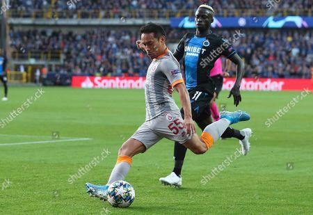 Galatasaray's Yuto Nagatomo kicks the ball during the Champions League group A soccer match between Club Brugge and Galatasaray at the Jan Breydel stadium in Bruges, Belgium