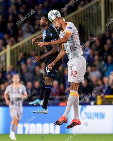Emmanuel Bonaventure (L) of Brugge in action against Steven Nzonzi (R) of Galatasaray during the UEFA Champions League group A soccer match between Club Brugge and Galatasaray Istanbul in Brugge, Belgium, 18 September 2019.