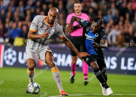 David Okereke (R) of Brugge in action against Steven Nzonzi (L) of Galatasaray during the UEFA Champions League group A soccer match between Club Brugge and Galatasaray Istanbul in Brugge, Belgium, 18 September 2019.