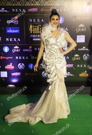 Stock Photo of Bollywood actress Urvashi Rautela stands for photographs as she arrives to attend the 20th International Indian Film Academy (IIFA) awards ceremony in Mumbai, India