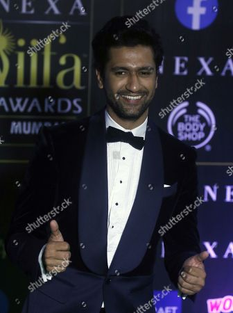 Vicky Kaushal arrives for the 20th International Indian Film Academy (IIFA) awards ceremony in Mumbai, India, 18 September 2019. The IIFA awards are prizes presented by the International Indian Film Academy every year to honour artistic and technical excellence of professionals in Bollywood.