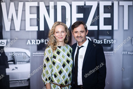 Petra Schmidt-Schaller and Harald Schrott pose during a photocall for the premiere of the movie 'Wendezeit' (Turning Point) in Berlin, Germany, 18 September 2019. The movie Wendezeit screens on 02 October 2019 in German television station ARD on occasion of the anniversary of the fall of the Berlin wall 30 years ago.