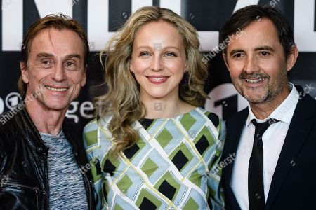 German actors Andre Hennicke, Petra Schmidt-Schaller and Harald Schrott pose during a photocall for the premiere of the movie 'Wendezeit' (Turning Point) in Berlin, Germany, 18 September 2019. The movie Wendezeit screens on 02 October 2019 in German television station ARD on occasion of the anniversary of the fall of the Berlin wall 30 years ago.