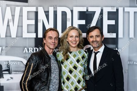 Stock Picture of German actors Andre Hennicke, Petra Schmidt-Schaller and Harald Schrott pose during a photocall for the premiere of the movie 'Wendezeit' (Turning Point) in Berlin, Germany, 18 September 2019. The movie Wendezeit screens on 02 October 2019 in German television station ARD on occasion of the anniversary of the fall of the Berlin wall 30 years ago.