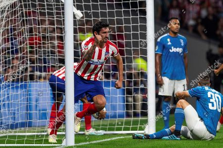 Atletico's defender Stefan Savic celebrates after scoring the 1-2 goal during the UEFA Champions League group D soccer match between Atletico de Madrid and Juventus at Wanda Metropolitano stadium in Madrid, Spain, 18 September 2019.