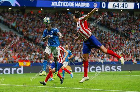 Juventus' midfielder Blaise Matuidi (L) scores the 0-2 during the UEFA Champions League group D soccer match between Atletico de Madrid and Juventus at Wanda Metropolitano stadium in Madrid, Spain, 18 September 2019.