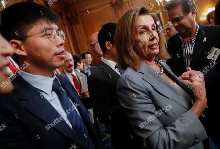 Nancy Pelosi, Joshua Wong. House Speaker Nancy Pelosi, right, with Hong Kong activist Joshua Wong, left, speaking to members of the media following a news conference on Hong Kong Human Rights on Capitol Hill in Washington