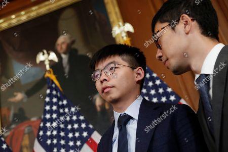 Joshua Wong, Denise Ho. Hong Kong activists Joshua Wong, center, and Nathan Law, right, during a news conference on Hong Kong Human Rights on Capitol Hill in Washington