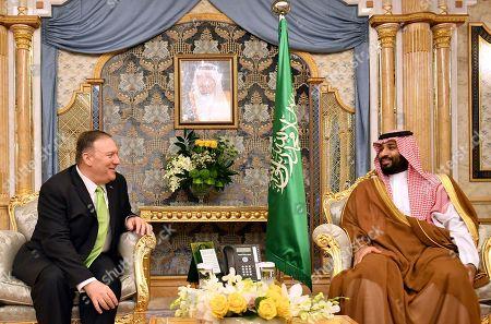 U.S. Secretary of State Mike Pompeo, left, meets with Saudi Arabia's Crown Prince Mohammed bin Salman in Jeddah, Saudi Arabia, on