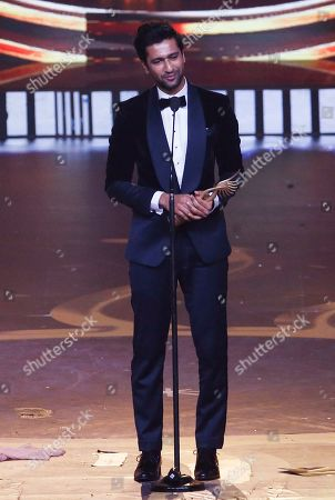 Bollywood actor Vicky Kaushal speaks after receives the award for best male actor in supporting role during the 20th International Indian Film Academy (IIFA) awards ceremony in Mumbai, India