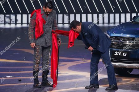 Salman Khan, Ranveer Singh. Bollywood actors Salman Khan, right, interacts with Ranveer Singh on stage during the 20th International Indian Film Academy (IIFA) awards ceremony in Mumbai, India