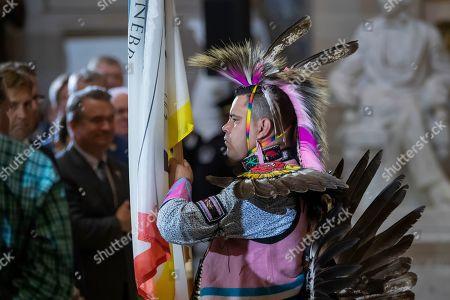 Editorial photo of Ponca Chief Standing Bear of Nebraska in Statuary Hall of the US Capitol, Washington, USA - 18 Sep 2019