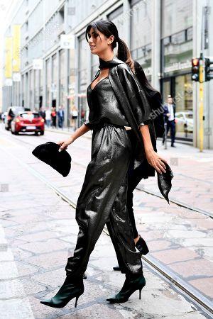 Editorial image of Street style, Milan Fashion Week Spring Summer 2020, Milan, Italy - 18 Sep 2019
