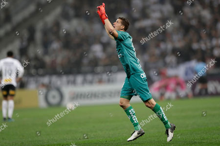 Goalkeeper Jorge Pinos of Ecuador's Independiente del Valle celebrates the second goal scored by teammate Gabriel Torres during a first leg Copa Sudamericana semifinal soccer match against Brazil's Corinthians at Arena Corinthians, in Sao Paulo, Brazil