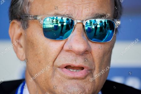 Major League Baseball's chief baseball officer Joe Torre speaks to reporters prior to a baseball game between the Los Angeles Dodgers and the Tampa Bay Rays, in Los Angeles