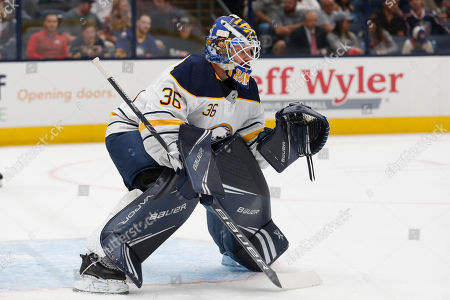 Buffalo Sabres goalie Andrew Hammond is seen against the Columbus Blue Jackets during an NHL preseason hockey game in Columbus, Ohio, . The Blue Jackets won 4-1