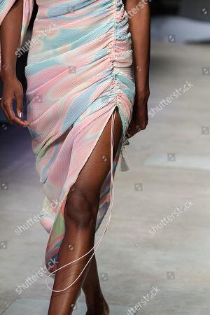 Model on the catwalk, detail