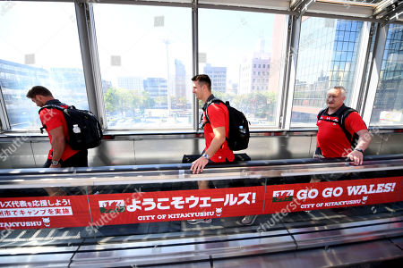 """Leigh Halfpenny, Owen Watkin and Paul Stridgeon as the Wales squad travel to Toyota City by """"Bullet Train""""."""