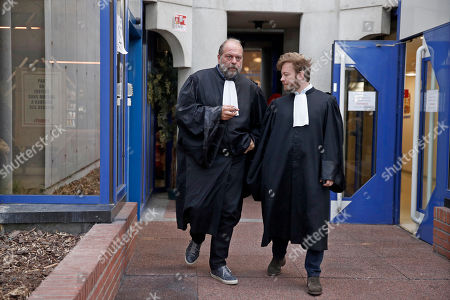 French lawyers Eric Dupond-Moretti (L) and Antoine Vey (R) arrive to court in Bobigny, near Paris, France, 19 September 2019. Leader of the far-left La France Insoumise (lit. Unsubmissive France) party Jean-Luc Melenchon is charged of rebellion, provocation and intimidation of judicial authorities during October 2018 police raids on his home and office as part of an investigation into potential campaign finance fraud.