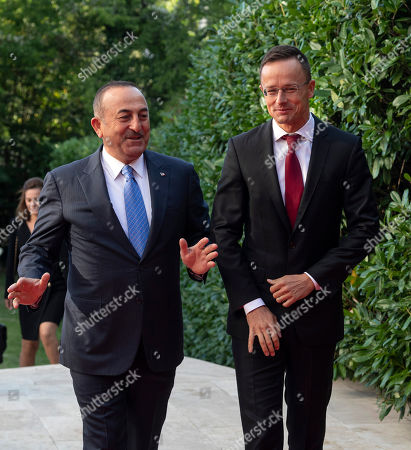 Hungarian Minister of Foreign Affairs and Trade Peter Szijjarto (R) receives Turkish Minister of Foreign Affairs Mevlut Cavusoglu in Budapest, Hungary, 19 September 2019. Cavusoglu arrived for the opening ceremony of the Budapest office of the Turkic Council. The council is an international organization comprising some of the Turkic-speaking countries, namely Azerbaijan, Kazakhstan, Kyrgyzstan, and Turkey. The organization was founded in 2009 and its General Secretariat operates in Istanbul.