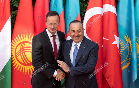 Hungarian Minister of Foreign Affairs and Trade Peter Szijjarto (L) receives Turkish Minister of Foreign Affairs Mevlut Cavusoglu in Budapest, Hungary, 19 September 2019. Cavusoglu arrived for the opening ceremony of the Budapest office of the Turkic Council. The council is an international organization comprising some of the Turkic-speaking countries, namely Azerbaijan, Kazakhstan, Kyrgyzstan, and Turkey. The organization was founded in 2009 and its General Secretariat operates in Istanbul.