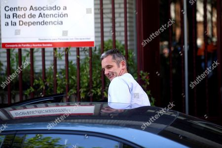 Stock Image of Inaki Urdangarin, husband of Spanish Princess Cristina who is the sister of Spain's King Felipe VI, leaves the Home Don Orione after his first day of volunteering with people with intellectual disabilities in Pozuelo de Alarcon, Madrid, Spain, 19 September 2019. Urdangarin is out of Brieva prison for the first time after he entered it 18 June 2018 to serve a five years and 10 months sentence for his involvement in the Noos Case, as he was found guilty for several charges of corruption and tax offenses. The women's Brieva prison counts with a small module for men, currently empty, where Urdangarin is on his own.
