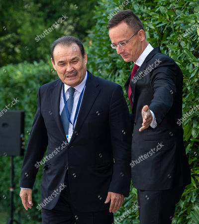 Hungarian Minister of Foreign Affairs and Trade Peter Szijjarto (R) receives Secretary General of the Turkic Council Baghdad Amreyev in Budapest, Hungary, 19 September 2019. Amreyev arrived for the opening ceremony of the Budapest office of the Turkic Council. The council is an international organization comprising some of the Turkic-speaking countries, namely Azerbaijan, Kazakhstan, Kyrgyzstan, and Turkey. The organization was founded in 2009 and its General Secretariat operates in Istanbul.