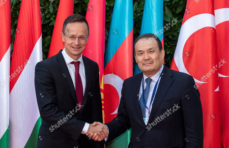 Hungarian Minister of Foreign Affairs and Trade Peter Szijjarto (L) receives Secretary General of the Turkic Council Baghdad Amreyev in Budapest, Hungary, 19 September 2019. Amreyev arrived for the opening ceremony of the Budapest office of the Turkic Council. The council is an international organization comprising some of the Turkic-speaking countries, namely Azerbaijan, Kazakhstan, Kyrgyzstan, and Turkey. The organization was founded in 2009 and its General Secretariat operates in Istanbul.