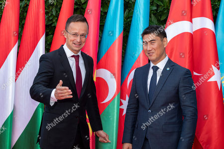 Hungarian Minister of Foreign Affairs and Trade Peter Szijjarto (L) receives Minister of Foreign Affairs of Kyrgyzstan Chingiz Aidarbekov in Budapest, Hungary, 19 September 2019. Aidarbekov arrived for the opening ceremony of the Budapest office of the Turkic Council. The council is an international organization comprising some of the Turkic-speaking countries, namely Azerbaijan, Kazakhstan, Kyrgyzstan, and Turkey. The organization was founded in 2009 and its General Secretariat operates in Istanbul.