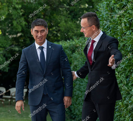 Hungarian Minister of Foreign Affairs and Trade Peter Szijjarto (R) receives Minister of Foreign Affairs of Kyrgyzstan Chingiz Aidarbekov in Budapest, Hungary, 19 September 2019. Aidarbekov arrived for the opening ceremony of the Budapest office of the Turkic Council. The council is an international organization comprising some of the Turkic-speaking countries, namely Azerbaijan, Kazakhstan, Kyrgyzstan, and Turkey. The organization was founded in 2009 and its General Secretariat operates in Istanbul.