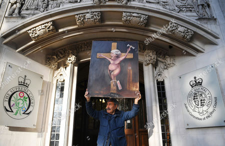 Satircal artist Kaya Mar protests outside at the Supreme Court following a hearing on the prorogation of Parliament, in London, Britain, 19 September 2019. The Supreme Court is due to rule on whether the suspension of parliament by British Prime Minister Boris Johnson was lawful.