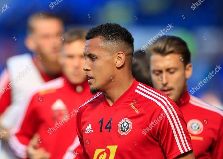 21st September 2019, Goodison Park, Liverpool, England ; Premier League Football, Everton vs Sheffield United : Ravel Morrison (14) of Sheffield United warms up for the game Credit: Conor Molloy/News Images English Football League images are subject to DataCo Licence