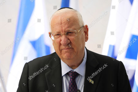 Israeli President Reuven Rivlin attends a memorial service for late Israeli president Shimon Peres at Mount Herzl, Israel's national cemetery, in Jerusalem, 19 September 2019.