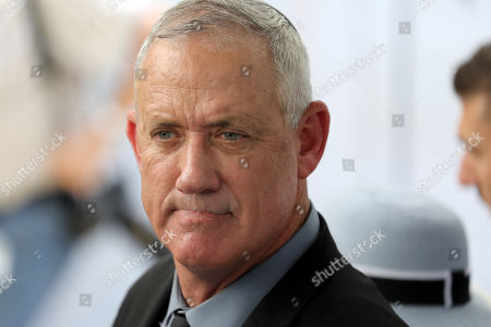 Benny Gantz, former Israeli Army Chief of Staff and chairman of the Blue and White Israeli centrist political alliance attends a memorial service for late Israeli president Shimon Peres at Mount Herzl, Israel's national cemetery, in Jerusalem, 19 September 2019.