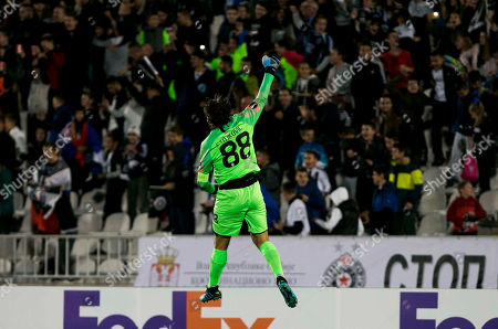 Goalkeeper Vladimir Stojkovic of Partizan celebrate the goal of his team mate Bibras Natcho of Partizan in 42nd minute for 1-1